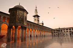 -  (Ahmed Al Shuaib) Tags: sunset orange reflection birds canon mark islam mosque ii syria l 5d usm muslims damascus 2010   2470mm     alshuaib