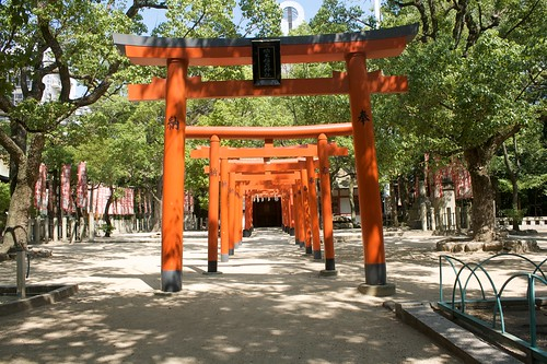 Torii walk to the O-inari-sama shrine in the Minatogawa temple