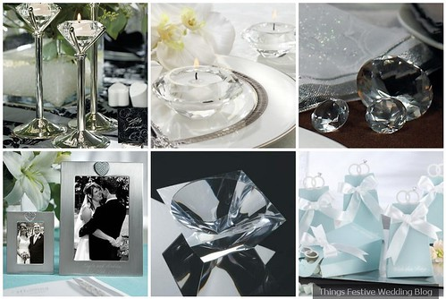 diamond centerpieces Diamond candle holders glam crystals and photo frames