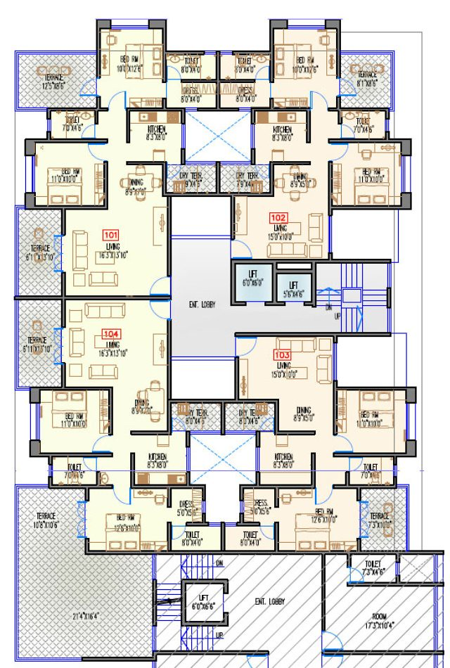 Navjeevan Properties'  Blue Bells, 2 BHK Flats opposite Pu La Deshpande Udyan on Sinhagad Road Floor Plan -1st floor