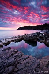 Sunrise Revised (Chad Solomon) Tags: longexposure pink red seascape reflection pool rock clouds contrast sunrise canon reflections twilight rocks chad australia qld queensland noosa mystical canon5d colourful canonef1740mmf4lusm solomon rockpool outstanding reflecton singhray chadsolomon