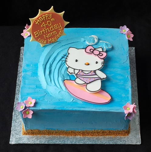 Surfing Hello Kitty Birthday Cake