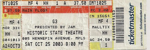 10/25/03 G3 (Satriani/Vai/Malmsteen) @ Minneapolis, MN (Ticket)