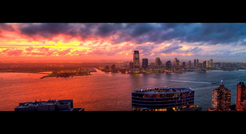 A Beautiful Catastrophe: Hudson River Sunset looking at Jersey City