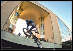 #272/365 The man who could jump through buildings (iPh4n70M) Tags: paris france building bicycle french photography photo jump nikon bmx freestyle raw photographer photographie fisheye photograph single tc 365 nikkor bp 16mm hdr vlo saut immeuble balade photographe parisienne parisien bicross 1raw d700 tcphotography baladesparisiennes ph4n70m iph4n70m tcphotographie
