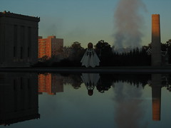 October 4, 2010 (the brilliant magpie) Tags: plaza morning autumn reflection tower art fall water museum clouds sunrise dawn early steam midtown kansascity reflectingpool nelsonatkins shuttlecock