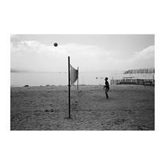 . (Emmanuel Smague) Tags: leica travel people blackandwhite bw lake man film beach 35mm photography europe report balloon documentary volleyball mp balkans albania emmanuelsmague
