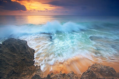colorful scape (Helminadia Ranford) Tags: sunset bali seascape motion day cloudy wave iloveyou dreamland