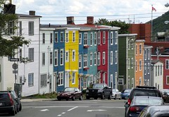 Unforgettable Steep Street, Colourful Row Houses, Downtown St. John's, Newfoundland, Canada (Bencito the Traveller) Tags: street canada newfoundland downtown stjohns colourful rowhouse