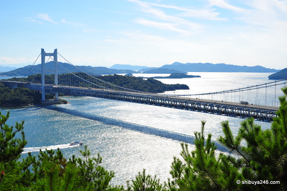 The train from Okayama to Takamatsu runs on the bottom section of this bridge, while cars go along the top