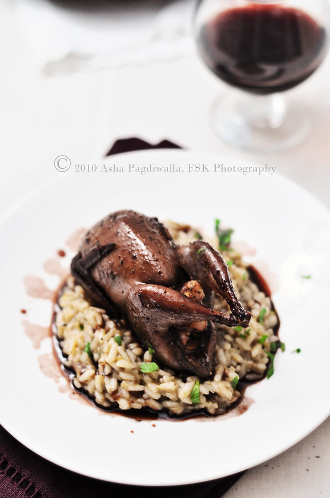 Pomegranate-Cocoa Glazed Stuffed Quail with Risotto