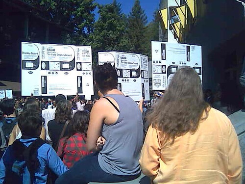 tri fold board. Institutionalized Protest/Tri-Fold Display Board