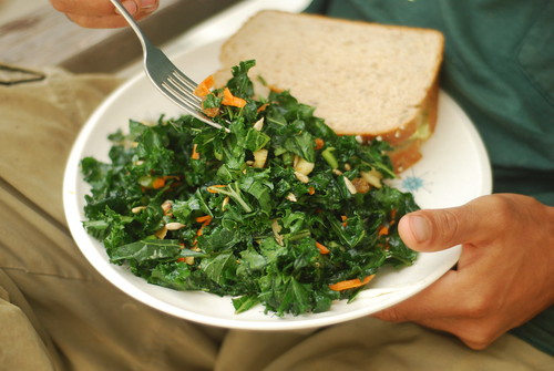 Raw massaged kale salad