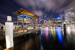 (Pawel Papis Photography) Tags: city longexposure sky holiday reflection water night clouds reflections lights bay pier jetty sydney australia wideangle pole wharf newsouthwales darlingharbour dri bulding dynamicrangeincrease residentialbuilding d
