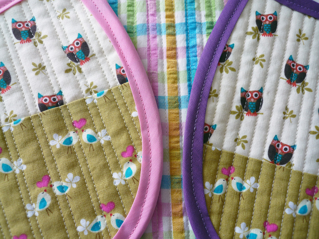 Home Ec Lesson #9: Quilted Patchwork Baby Bibs (detail)
