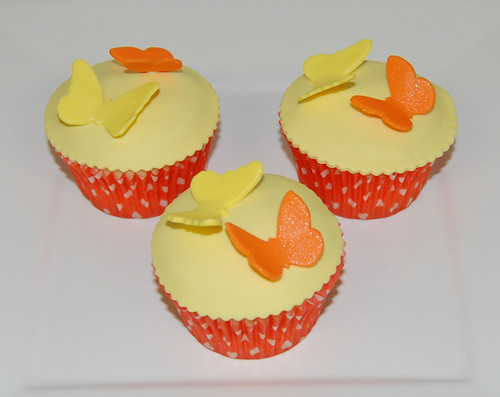 yellow and orange butterfly cupcakes