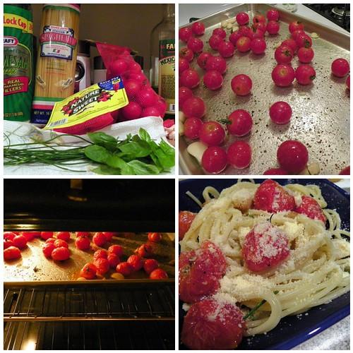 Spaghetti w/ Roasted Tomatoes & Herbs