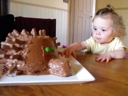 Amelia with the 1st Echidna Day cake