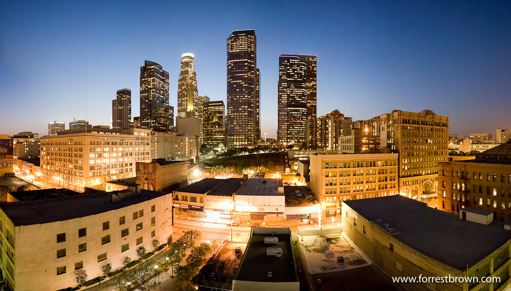 Panorama of downtown Los Angeles, Downtown, Twilight, Skyline, Cityscape, City, Buildings