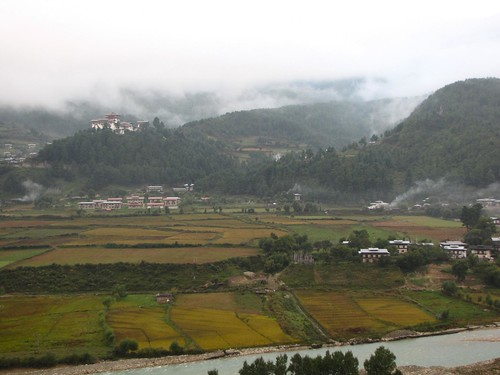Jakar Dzong on a misty morning 3