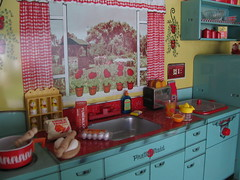 Preparing breakfast! (Retro Mama69) Tags: kitchen vintage puppy table miniature chairs retro marx shelves remcodoll roombox rements vintagetintoy miniaturekitchen prettymaid toydiorama pennybritedoll tuttidoll kitchendiorama metalkitchentoy 1950ss yellowandturquoisekitchen