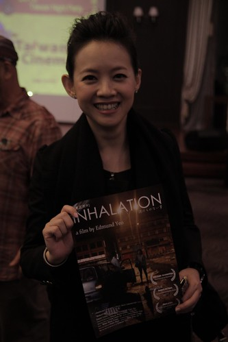 Bowie Tsang with the INHALATION poster