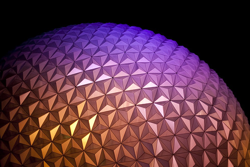 Epcot sphere at night