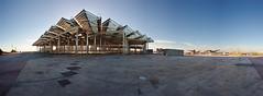 (co²) Tags: barcelona plaza sunset sol de pano forum panoramic posta co2 plaça techos sostres triangulars