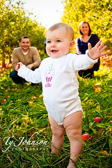 Elle - 1 Year Photos (Ty Johnson Photography) Tags: birthday morning family portrait people woman baby white mountain man cute green apple nature girl smile grass portraits children fun outside outdoors happy photography one parents kid child play outdoor joy elle orchard laugh carter 1year d90