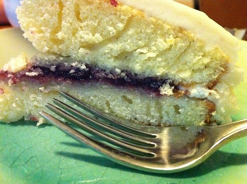 Yellow cake, apple-blueberry filling, maple-whiskey frosting