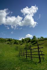 Romanian Landscape (Maramures) (pas le matin) Tags: blue trees sky cloud green clouds fence landscape hiking rando fences vert hike bleu ciel arbres romania promenade prairie nuage nuages paysage randone roumanie barrire botiza barrires ieud romanianlandscape paysageroumain