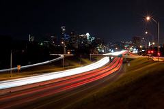Austin Skyline and IH-35 at Night (Viajante) Tags: city skyline night austin us highway texas traffic unitedstates transportation freeway lighttrail yp2010 aus20