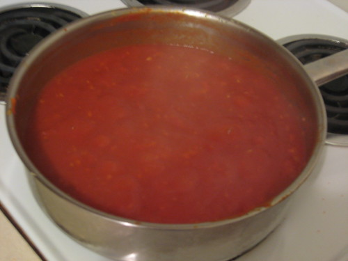 simmering sauce