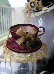 Maroon Tea Cup Hat (vanroy13) Tags: party cup hat diy costume whimsy key tea handmade lace ooak watch velvet steam lolita novelty partyhat etsy custom teacup gears teaparty topper whimsical steampunk headpiece minihat loliable