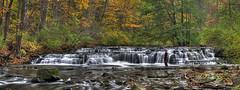 Fisherman at Postcard Falls Panorama - October 2010 (Paul6833) Tags: waterfall corbettsglen penfieldny postcardfalls
