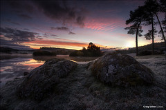 Knapps Dawn VIII (CU-Photography) Tags: autumn trees water pine clouds sunrise scotland rocks frost craig loch usher scots kilmacolm knapps inverclyde renfrewshire
