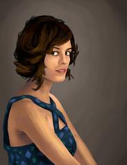 Nora Zehetner Photoshop Portrait (Crilix) Tags: portrait woman art girl beautiful photoshop pose hair paint pretty dress drawing side profile trace nora tablet acad zehetner paintover