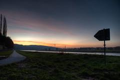 Back there! (thomasstache) Tags: schilder sunrise germany deutschland dresden himmel sachsen fernsehturm fluss elbradweg sonnenaufgang hdr elbe morgens morgenrot elbufer saloppe dresdnernorden
