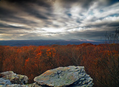 Asterisked (Nicholas_T) Tags: autumn trees sky mountain clouds landscape lowlight shadows hiking pennsylvania valley creativecommons poconos camelbackmountain appalachiantrail bluemountain appalachianmountains stratocumulus monroecounty kittatinnymountain wolfrocks northamptoncounty