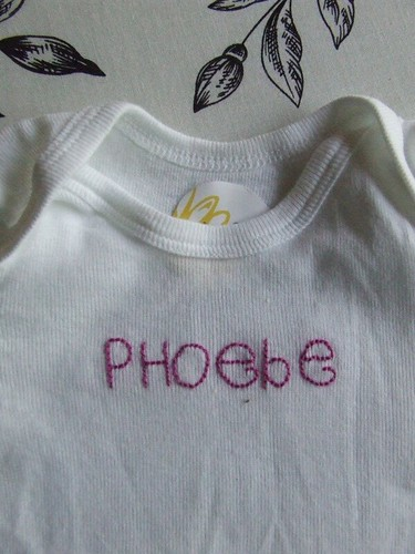 """Phoebe"" Name Onesie close-up"