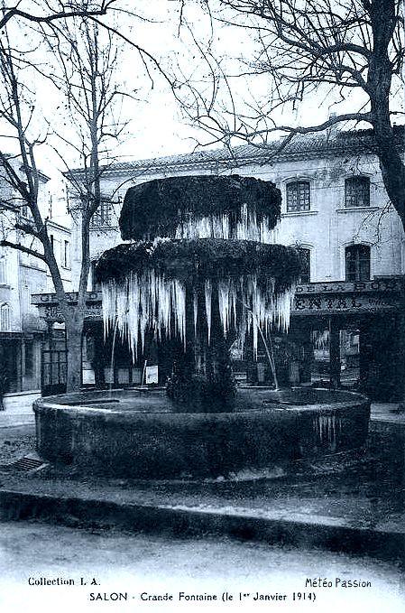 fontaine gelée à Salon de Provence le 1er janvier 1914