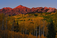 Light's Last Vestiges on Autumn's Glow (Fort Photo) Tags: travel pink autumn sunset mountain mountains fall nature forest landscape gold golden evening nikon colorado glow dusk peak alpine co peaks aspen 2010 lastlight d700 platinumheartaward