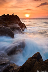 (J.^2) Tags: blue sunset sea sky orange beach water rock indonesia play guitar dusk wave lone splash lombok senggigi kerandangan