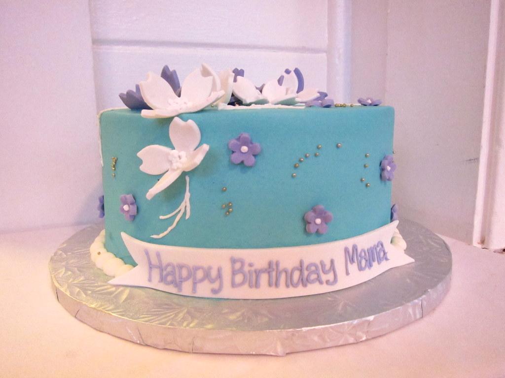 Moms Birthday Cake Polkadots Olga Tags Flowers White Austin