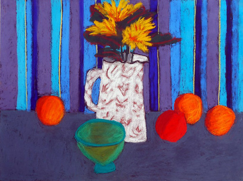 """Yellow flowers with Striped Cloth - pastel on paper 22"""" x 30"""" $1100"""
