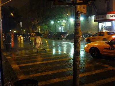 Rainy Evening at Avenue B and 4th Street, New York City.