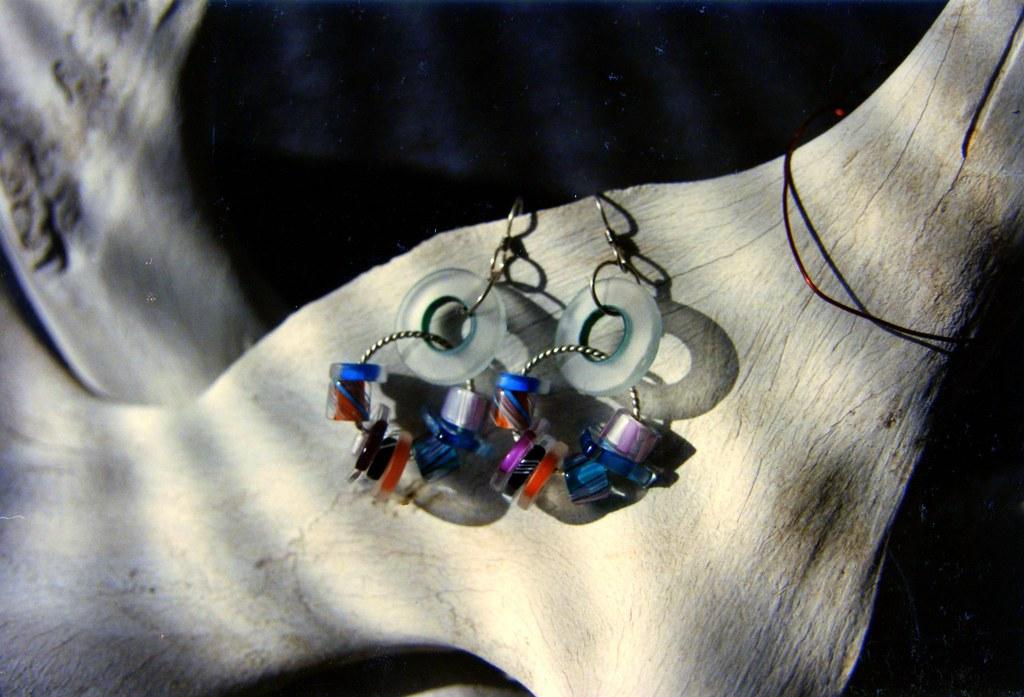 Multicolor Glass & Silver Earrings on Bone