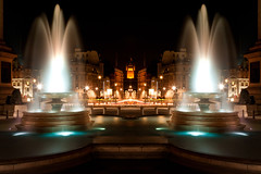 Mirror Pool (Trafalgar Square), London (flatworldsedge) Tags: longexposure light reflection london westminster night photoshop square traffic turquoise lion trails trafalgar palace fountains whitehall explored