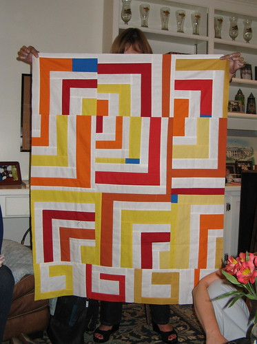 Adele's liberated quarter log cabin quilt