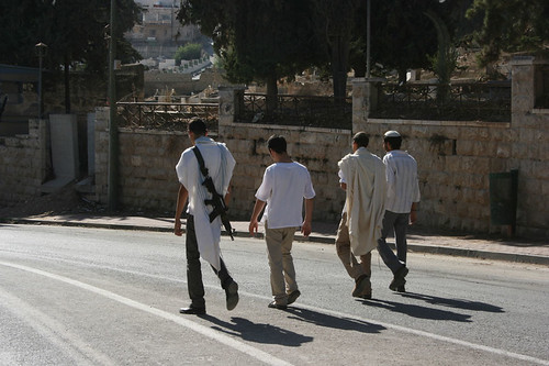 Settlers taking a walk on Shuhada Street